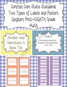 Common Core CCSS 8th Grade Math Labels and Posters-Gingham from The Wise Old Teacher on TeachersNotebook.com (53 pages)  - Common Core CCSS 8th Grade Math Labels and Posters-Gingham