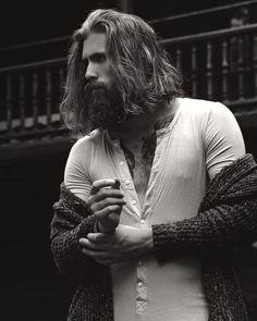 Angie's - Brandon K. Portfolio - Beard Model My breath literally caught in my chest -b. Long Hair Beard, Long Hair Cuts, Long Hair For Men, Man Hair, Epic Beard, Sexy Beard, Badass Beard, Moustaches, Hair And Beard Styles