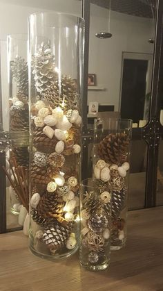 Christmas decoration - Christmas vases with casseroles ? Christmas decoration – Christmas vases with casseroles ? Christmas decorations and interi - Christmas Vases, Christmas Pine Cones, Christmas Table Centerpieces, Indoor Christmas Decorations, Dollar Store Christmas, Rustic Christmas, Simple Christmas, Christmas Home, Christmas Crafts
