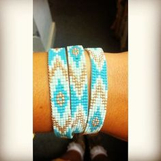 Chevron inspired blue and gold wrap bracelet! This bracelet was handmade on a loom with delicas. Designed by Tricia  #bracelet #loom