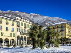 Locarno in Winter Let It Snow, Let It Be, Mansions, House Styles, Winter, Places, Beautiful, Switzerland, Locarno