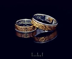 """Wedding rings """"Memoria"""". Silver and gold wrought .  The width of 5 and 6mm ."""
