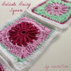 Delicate Daisy Square crochet pattern. Round daisy design that turns into a square. The pattern has photos for each round and shows exactly how to turn a round design into a square.