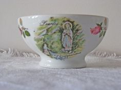 French cafe au lait bowl  souvenir from Lourdes by by Histoires, $27.50