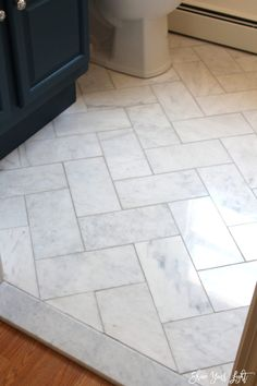 Large Herringbone Marble Tile Floor – A Great Tip To DIY It For Less! Looking for an affordable way to install herringbone marble tile flooring? Get the most bang for your buck and make your marble dreams come true. Diy Bathroom, Bathroom Floor Tiles, Basement Bathroom, Master Bathroom, Bathroom Ideas, White Bathroom, Marble Tile Bathroom, Bathroom Furniture, Marble Tiles