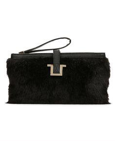 Lenox Faux Fur Clutch | Ann Taylor