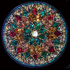 """Autumn Star - Sold Stained Glass Mosaic 10"""" diameter"""