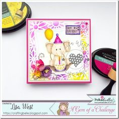 Birthday Balloon Ella from Pink Gem Designs @ Polkadoodles Pink Cards, Spectrum Noir, Alcohol Markers, Digi Stamps, Birthday Balloons, Happy Friday, I Card, Lisa, Doodles
