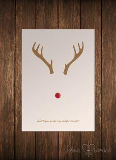 Rudolph Minimalist Card by BonniMaceDesigns on Etsy, $8.00