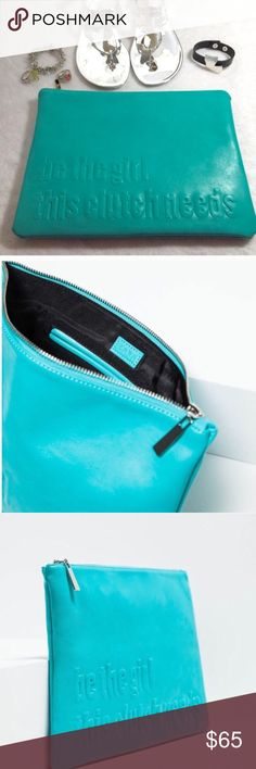 """Rare Zara Clutch """"Be the girl this clutch needs"""" Clutch only.  33cm by 24cm.  This new and rare clutch says """"Be the girl this clutch needs"""".  Sold out and sought after. Color is a better match in pictures 2 and 3.  Price is firm. Zara Bags Clutches & Wristlets"""