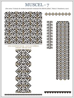 Romanian motifs - Muscel 1910 Folk Embroidery, Embroidery Stitches, Embroidery Patterns, Bead Loom Patterns, Beading Patterns, Knitting Patterns, Cross Stitch Designs, Cross Stitch Patterns, Smocking Plates