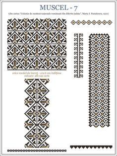 Romanian motifs - Muscel 1910 Bead Loom Patterns, Beading Patterns, Knitting Patterns, Embroidery Motifs, Embroidery Designs, Cross Stitch Designs, Cross Stitch Patterns, Wedding Album Design, Cross Stitch Freebies