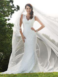 Delicate Lace V Neck Mermaid Natural Waist Court Train Wedding Dresses