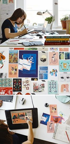 INSPIRING: Illustrator in her art studio. ___ Illustrators Carolina Búzio and Theresa Grieben share a Berlin studio bursting with natural light, camaraderie and talent. Explore their space today in the Seller Handbook. Art Studio Lighting, Illustrator, Studio Organization, Workspace Inspiration, Creative Studio, Art Studios, Artist At Work, Design Art, Artwork
