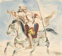 Eugène Delacroix - Cavalier arabe à cheval, 1838,...