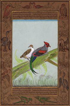 Indian Wild Hen Painting Handmade Nature Bird Ornithology Miniature Ethnic Art