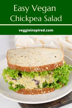 Easy and delicious vegan chickpea salad. Perfect for a quick lunch or meatless dinner. Pile it up on a sandwich, scoop it up with crackers for a snack, toss it over lettuce for a hearty vegetarian salad, or just eat it with a fork. Everyone loves this recipe! #vegan #chickpearecipes #sandwich #vegetarian #plantbased