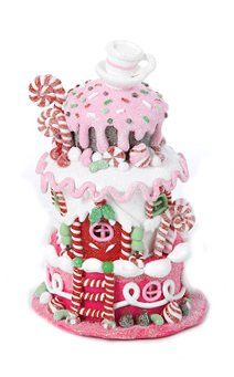 575 gingerbread kisses led lighted pink cake house christmas decoration kurt adlerhttp - Christmas Cake Decorations Amazon