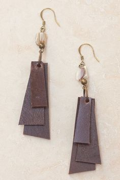 Coco Layered Leather Earrings - Brown – Letizia California