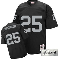 Fred Biletnikoff Men s Authentic Black Jersey  Mitchell and Ness NFL  Oakland Raiders Autographed Road  25 Throwback  69b49f53f