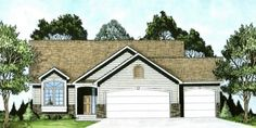 This inviting small house plan with a ranch style structure has over 1330 sq ft of living space. The one story floor plan includes 2 bedrooms. Traditional House Plans, Traditional Exterior, Traditional Design, Craftsman Style House Plans, Ranch House Plans, Craftsman Homes, Narrow Lot House Plans, Monster House Plans, Build Your Own House