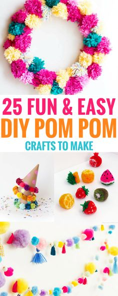 #crafts #pompom #DIY Fun and Easy DIY Pom Pom Crafts to Make, Perfect for a party or decorations