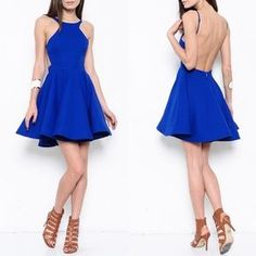 I just discovered this while shopping on Poshmark: Backless Royal Blue Skater Dress. Check it out! Price: $65 Size: Various