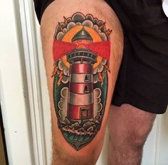 Neo Traditional Lighthouse Tattoo Design by Sinners Inc
