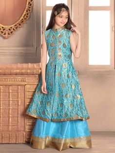 Blue Silk Choli Suit
