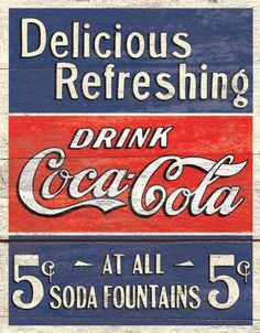 Coca-Cola sign. Love the red,white, blue. Cooler box front/theme, maybe? ~J~