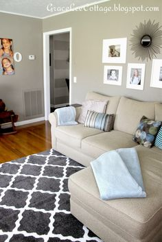 Family Room Gray Trellis Rug Sectional Blue Accents Family Room Decorating Ideas Pinterest Furniture Living Room Rugs And Living Rooms