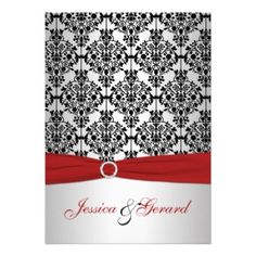 red and grey wedding | Elegant Wedding Invitations :: Printed Ribbon Red, Gray, & Black ...