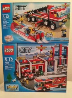 Lot of 2 New Lego City Fire Station 7208 Off Road Truck Fireboat 7213 SEALED 673419130196   eBay