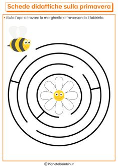 Educational Cards on Spring for the Nursery School - - Bee Activities, Kindergarten Activities, Infant Activities, Preschool Writing, Preschool Worksheets, Bee Life Cycle, Maze Worksheet, Mazes For Kids, Nursery School