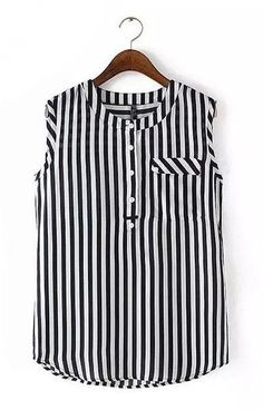 Love this vertical striped blouse! White Chiffon Blouse, Chiffon Tops, Chiffon Blouses, Sleeveless Tops, Casual Outfits, Fashion Outfits, Women's Casual, Style Fashion, Black And White Blouse
