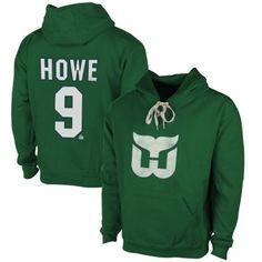 Mens Hartford Whalers Gordie Howe Old Time Hockey Kelly Green Malcolm Skate Lace Alumni Hoodie