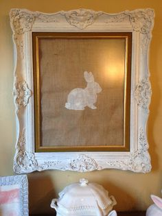 Stencil bunny onto burlap, frame and enjoy ~ Embracing Change: My Sideboard Decorated For Easter