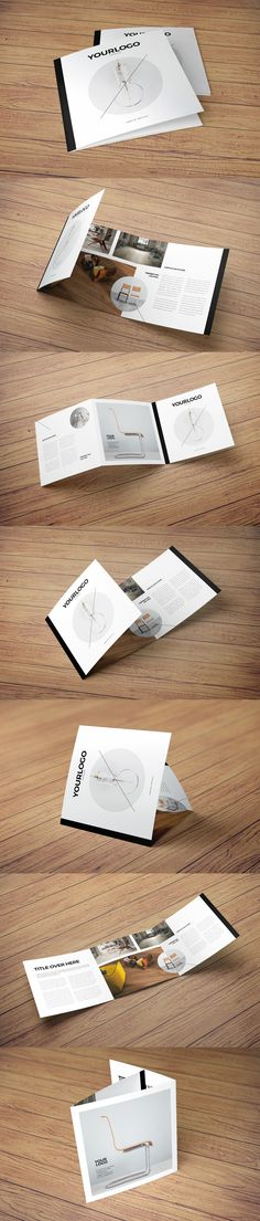 Square Simple Minimal Catalog Trifold Brochure Template INDD