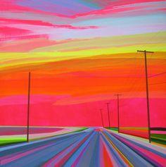 Utilizando tinta acrílica e cores vibrantes, o artista americano Grant Haffner passa para a tela as imagens de viagens fascinantes, através de estradas vazias de Long Island.