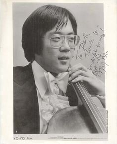 """YO-YO MA. Vintage 1980s 8x10 glossy black and white chest-up portrait, boldly signed and inscribed in black felt tip ink, """"To DickThanks for a/wonderful evening!/[indecipherable]/Yo-Yo Ma."""""""