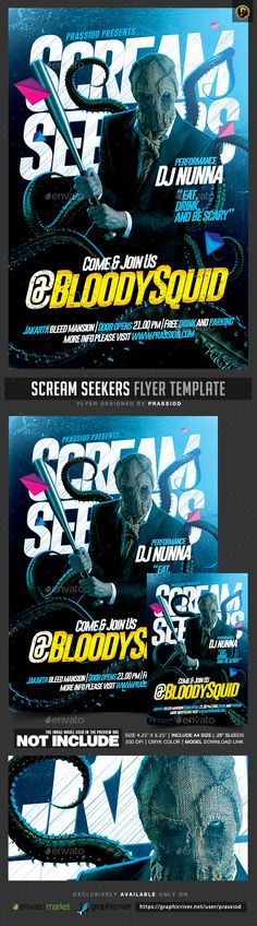 Scream Seekers Flyer Template — PSD Template #evil #costume • Download ➝ https://graphicriver.net/item/scream-seekers-flyer-template/18363684?ref=pxcr