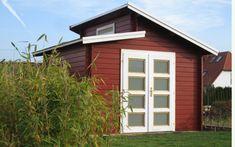 Oh lá lá: Das Pultdach und der schwedenrote Farbanstrich des Modell Aktiva-28 macht dieses Gartenhaus zu etwas ganz besonderem!