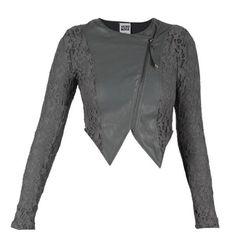 Vero Moda Lace Short Biker Jacket Grey ❤ liked on Polyvore