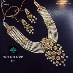 Elegant and heavy Necklace Set For Wedding celebrations... Stones: White Kundan and Emerald jades. Finish- 22kt Gold Patra with Lamination (non tarnished) on Silver with Alloy. Green Enamelling on Side of Design and Beautiful colours at Back side.. Neckli...