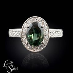 Unique Colored Green Sapphire and Diamond Platinum Engagement Ring - $4,791.15 usd.  by Laurie Sarah Designs #handengraved #LS1801 #sapphire #engagement #ring