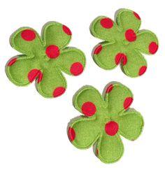 Green polka dot Christmas flower padded felt appliqués