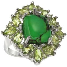 Sterling Silver 25.09ct Green Mohave Turquoise and Peridot Ring ($48) ❤ liked on Polyvore featuring jewelry, rings, green, turquoise rings, marquise-cut diamond rings, turquoise jewelry set, vintage jewelry sets and vintage turquoise jewelry