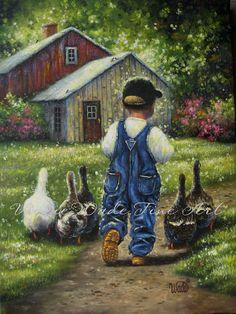 Little Boy Blue Print little farm boy little by VickieWadeFineArt, $16.00