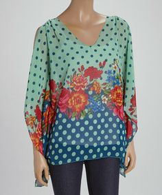 Love this Peppe Peluso Studio Green & Blue Floral Polka Dot Cape-Sleeve Top by Peppe Peluso Studio on #zulily! #zulilyfinds