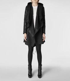 Womens Leopard Maze Parka Jacket (Black) | ALLSAINTS.com